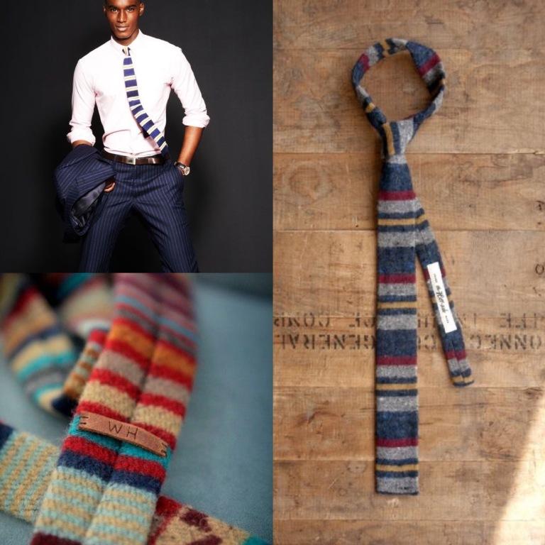 horizontal striped slim tie in winter fabrics.